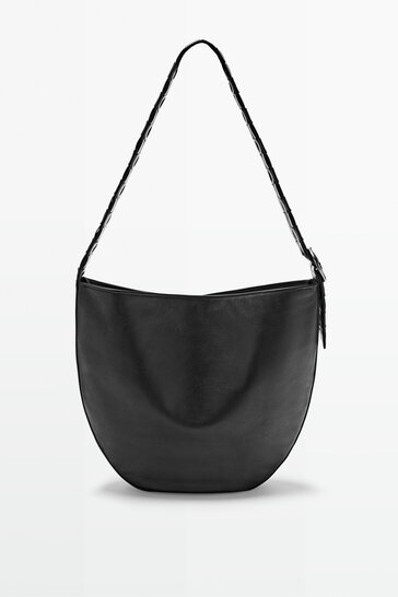 Shoulder bag with braided leather strap