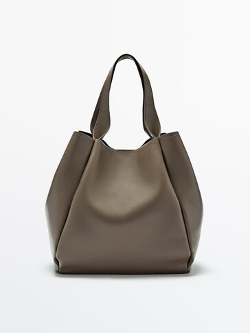Leather tote bag with inner purse