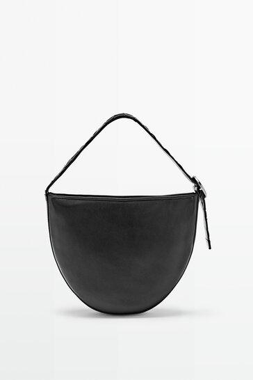 Шкіряна сумка у формі півмісяця з плетеним щкіряним ремінцем