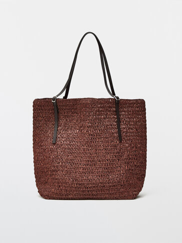 Raffia tote bag with leather handles
