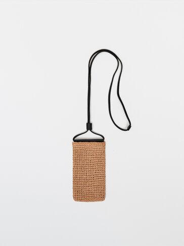 Чехол для смартфона из рафии с кожаным ремешком