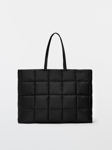 Maxi nylon tote bag with leather details