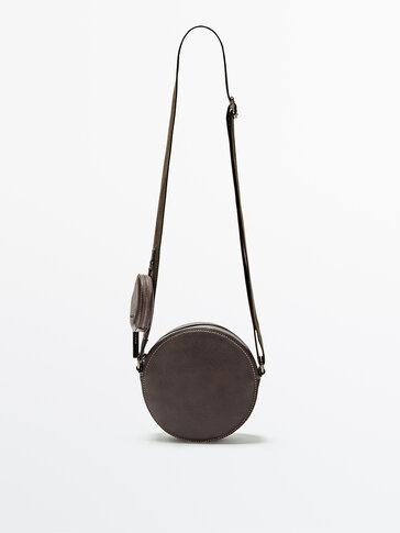 Round leather handbag with mini bag