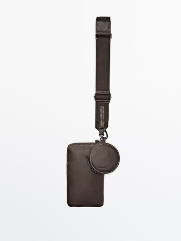 Leather mobile phone case with removable coin purse