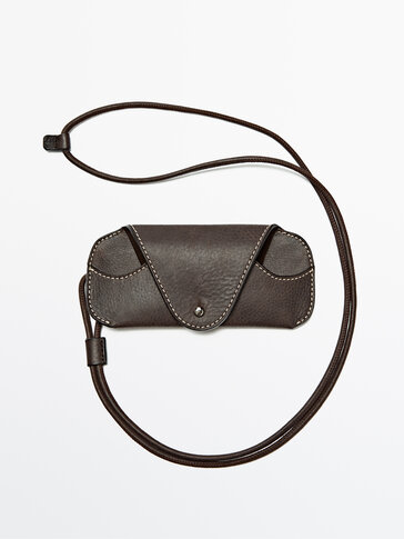 Leather sunglasses case with strap