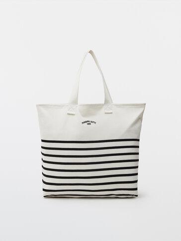 Cotton striped tote bag