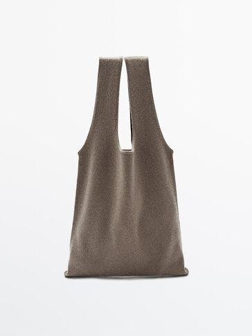 Vlněná úpletová kabelka tote