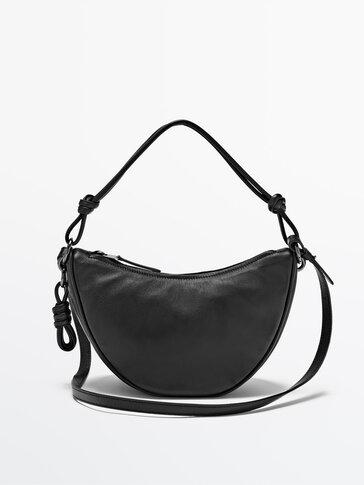 Half moon leather crossbody bag