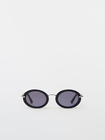 Navy blue oval sunglasses