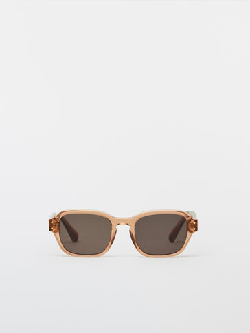 Square clear-framed sunglasses