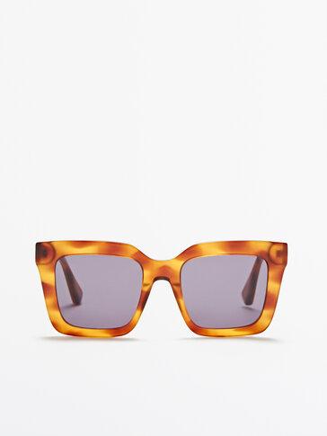 Vierkante zonnebril met schildpadmotief