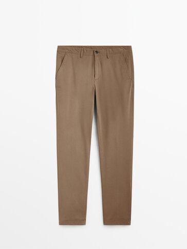 Памучен чино панталон със стандартна кройка