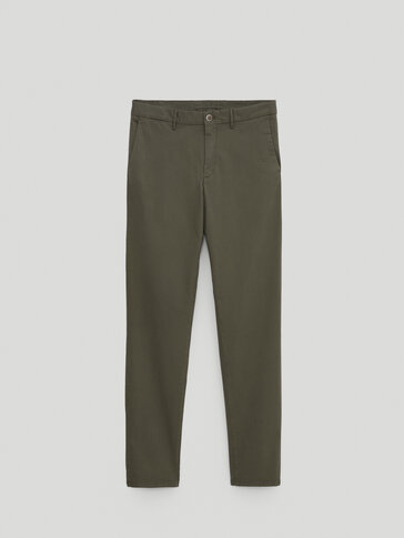 Хлопковые брюки чинос облегающего кроя