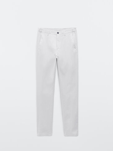 Regular fit cotton chino trousers