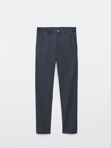 Textured cotton and linen jogging fit trousers