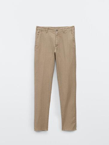 Jogging-fit-bukse i bomull og lin med struktur