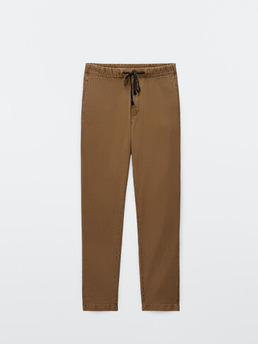 Striped cotton and linen jogging fit trousers