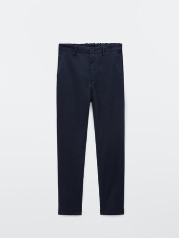 Cotton twill slim fit trousers