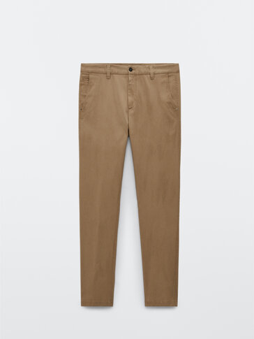 Tapered fit cotton chino trousers