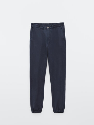 Jogging-fit linen and cotton trousers