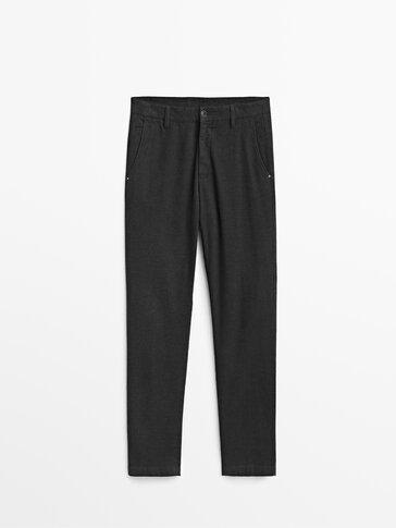 Spodnie o kroju slim w kratkę