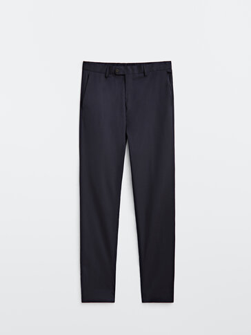 Blue 100% wool comfort suit trousers