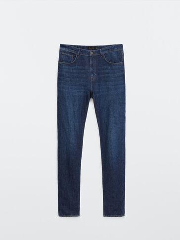 Bawełniano-lniane jeansy o casualowym kroju