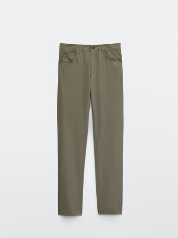 Cotton and linen casual fit denim-effect trousers