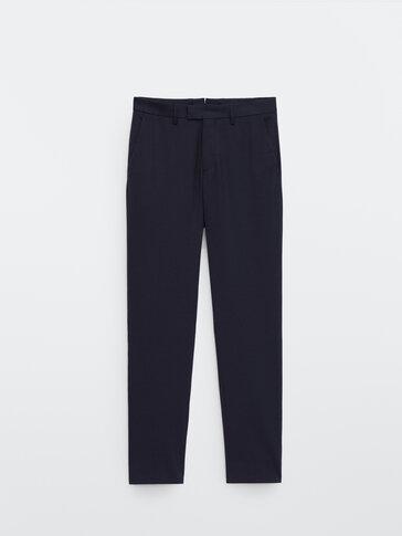 Slim fit 100% wool trousers