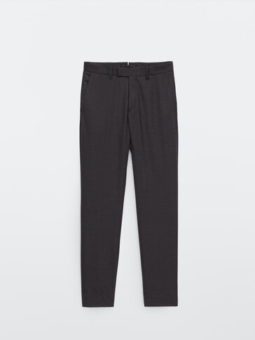 Slim fit houndstooth wool trousers