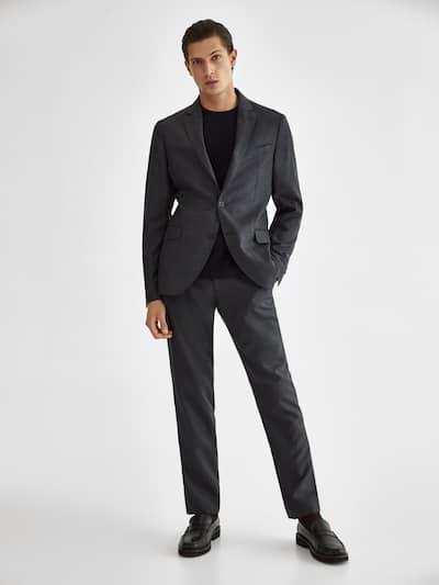 마시모두띠 팬츠 Massimo Dutti Slim fit houndstooth wool trousers,CHARCOAL