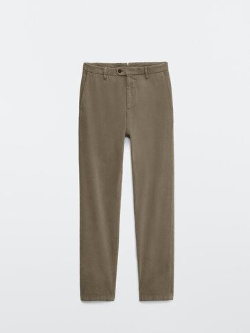 Slim fit cotton trousers