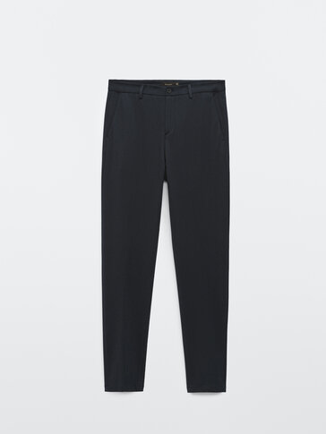Navy blue slim fit trousers