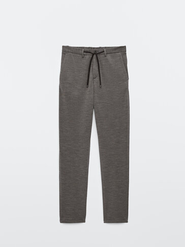 Jogging fit 100% wool merino trousers