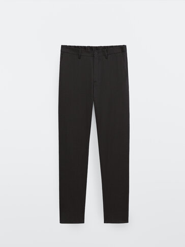 Casual fit 100% wool trousers