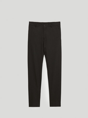 Black casual fit wool trousers