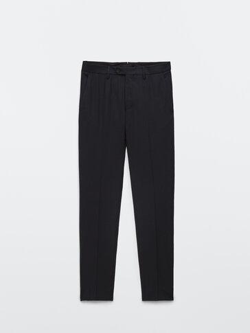 Black 100% wool suit trousers