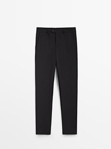Čierne oblekové nohavice zo 100% vlny