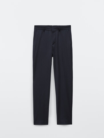 Navy blue wool flannel suit trousers