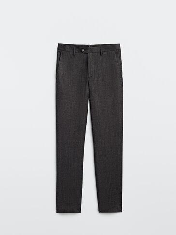 Slim fit wool flannel trousers
