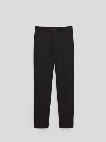 120's wool slim fit trousers