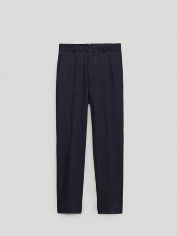120's wool slim fit check trousers