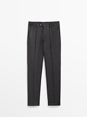 Szare wełniane spodnie od garnituru