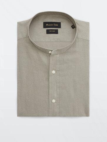 เสื้อเชิ้ตคอตั้งเข้ารูปผ้าลินิน 100%