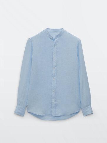 Вталена риза от 100% лен със столче яка