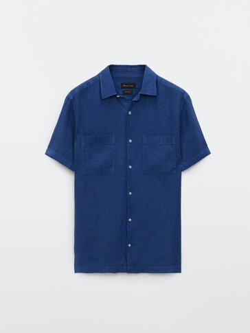 Regular fit short sleeve linen shirt