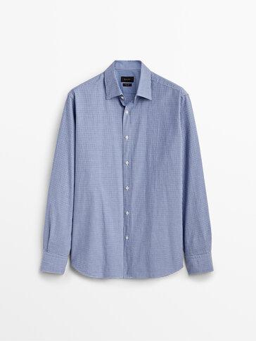 Chemise à carreaux en pur coton slim