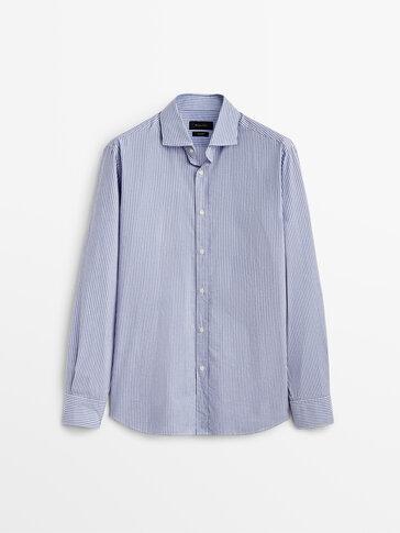 Slim-fit striped 100% cotton shirt