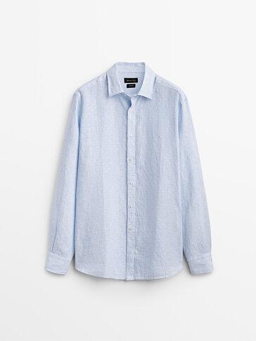 قميص من الكتان 100% قصة ضيقة