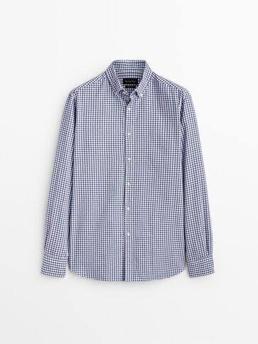 Slim fit gingham check cotton shirt